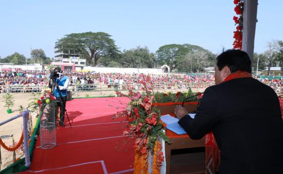 Sarbananda Sonowal attending swearing-in ceremony of newly elected Members of Rabha Hasong Autonomous Council